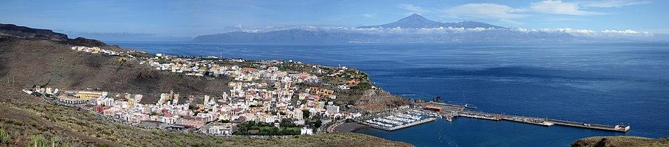 San Sebastián de la Gomera, with the towering volcano Teide in the background on the island of Tenerife