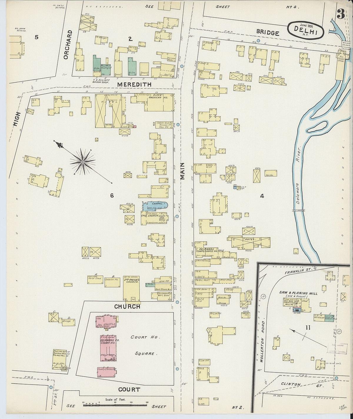 delaware county ny map File Sanborn Fire Insurance Map From Delhi Delaware County New delaware county ny map