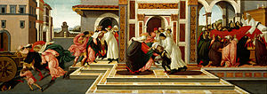 Zenobius of Florence - The Last Miracle and Death of Saint Zenobius, by Botticelli