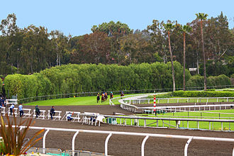 Santa Anita Park - The unique downhill turf course includes a section where horses have to momentarily cross the dirt track