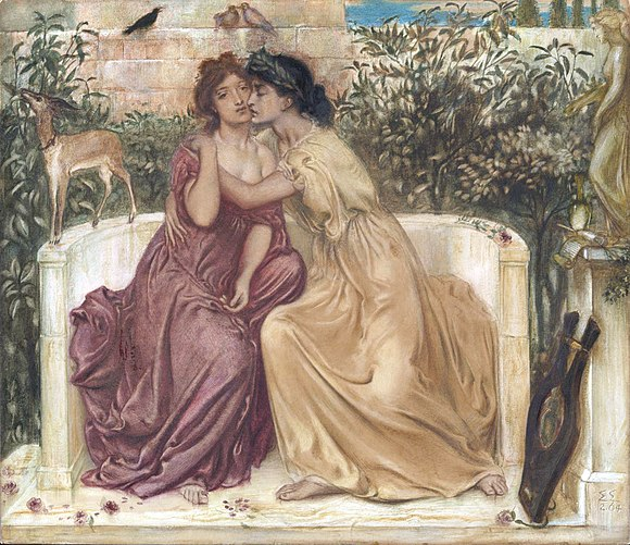 Sappho and Erinna in a Garden at Mytilene, 1864 Watercolour on paper, Tate Britain Sappho and Erinna in a Garden at Mytilene.jpg