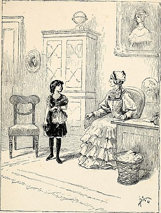 """A Little Princess - """"She slowly advanced into the parlor, clutching her doll"""": Illustration from Sara Crewe; or, What Happened at Miss Minchin's (1888)"""