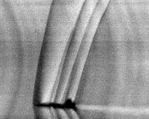Schlieren photography - Shock waves produced by a T-38 Talon during flight using analog background-oriented schlieren from the Sun's edge