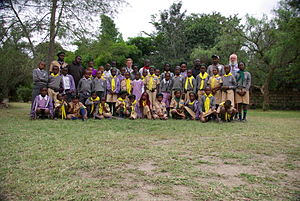Kenya Scouts Association - A group shot of a school based Sungura Scout section on their camp in Kenya.