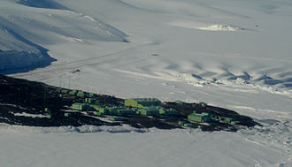 Scott Base - Aerial photograph of Scott Base, Ross Island, Antarctica.