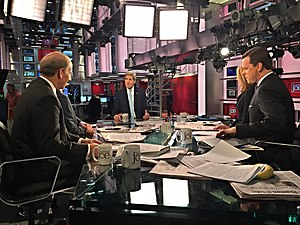Morning Joe - U.S. Secretary of State John Kerry talks with Nicolle Wallace, Mike Barnicle, Mark Halperin, Richard Haass, and Katty Kay during an appearance on September 29, 2015.