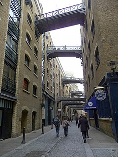 picturesque and historic riverside street next to Tower Bridge in Bermondsey