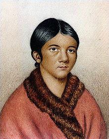 Painted portrait of woman believed to be Shanawdithit