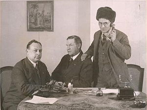Bill Haywood - From left, William Shatoff, Haywood, and George Andreychine in Soviet Russia.