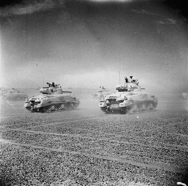 File:Sherman tanks of the Eighth Army move across the desert.jpg