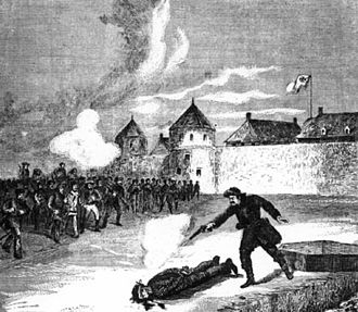 Red River Rebellion - An artist's depiction of the execution of Scott, 1870