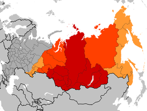 English: Map of Russian federal subjects belon...