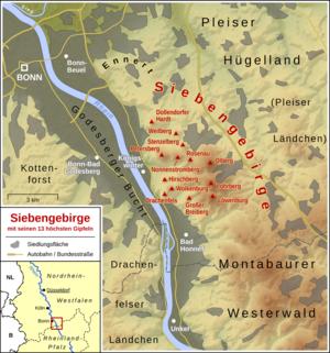 Siebengebirge - Image: Siebengebirge Übersichtskarte
