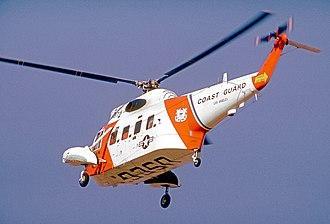 Coast Guard Air Station Los Angeles - Sikorsky HH-52A Seaguard of USCG Los Angeles over LAX in 1973