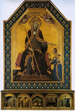 Artistic patronage of the Neapolitan Angevin dynasty - Altarpiece of Saint Louis of Toulouse by Simone Martini, 1317.