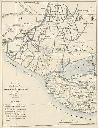 Cutch State - Sindh and Kutch map 1827