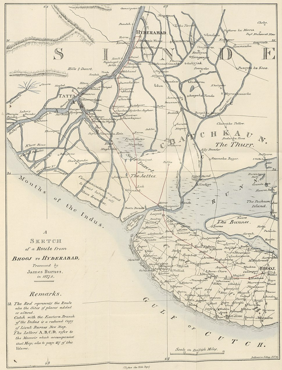 Sindh and Kutch 1827 map