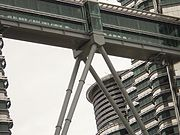 Close up view of the Skybridge connecting the two towers