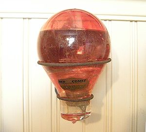 "Carbon tetrachloride - A Red Comet brand, glass globe ""fire grenade"""