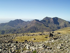 Snowdon - The Snowdon group seen from the east; left: Y Lliwedd; centre: Crib Goch; right: Yr Wyddfa and Garnedd Ugain