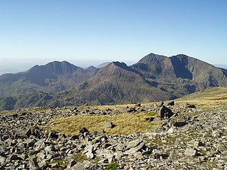 Snowdon - The Snowdon group viewed from the east left to right Y Lliwedd, Crib Goch, Yr Wyddfa, Garnedd Ugain