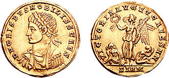 Crispus - Crispus on a coin issued to celebrate Constantine I's victory over Goths in 323