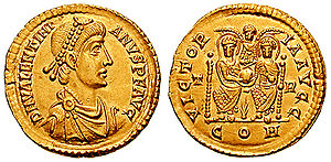 Valentinian II - A solidus minted by Valentinian II. On the reverse, both Valentinian and Theodosius I are celebrated as victorious.