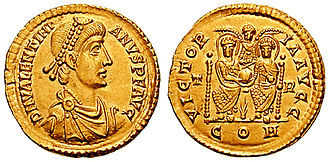 History of the English penny (c. 600 – 1066) - O: Bust of Valentinian II right. DN VALENTINIANVS IVN PF AVG