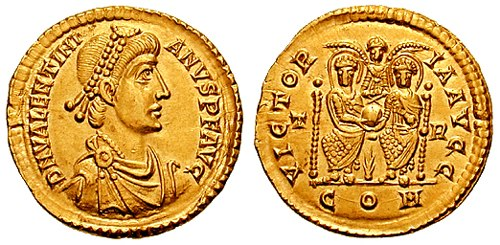 Solidus Valentinian II trier RIC 090a