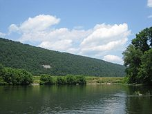 Wooded mountainside seen from a river