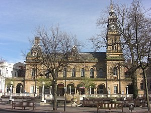 Maxwell and Tuke - Cambridge Hall, Southport (later Southport Arts Centre) (1873–74), the earliest major commission