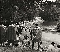 Spectators watching an Olympic cycle race, London, 1948. (7649952186).jpg