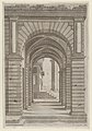 Speculum Romanae Magnificentiae- Front of a Building seen sideways through an arcade of four arches on its left front. MET DP870093.jpg
