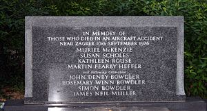 1976 Zagreb mid-air collision - Memorial to some of the dead