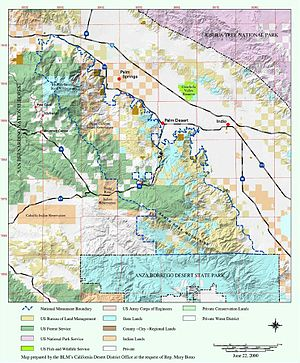 Checkerboarding (land) - Map of the Santa Rosa and San Jacinto Mountains National Monument showing examples of checkerboarding