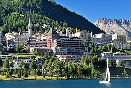 View of St. Moritz luxurious five star hotels from St. Moritz lake during summer season