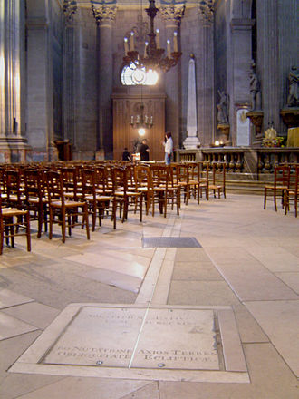 Church of Saint-Sulpice, Paris - The gnomon (in the background) and the brass line on the floor