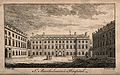St Bartholomew's Hospital, London; the courtyard. Engraving Wellcome V0012987.jpg
