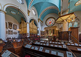 St Michael, Cornhill - Interior showing the organ and skylights cut in the aisle vaults in the late 1860s