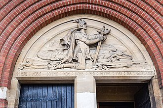 Cathedral of St Michael and St George, Aldershot - Frieze of St George over the main doors