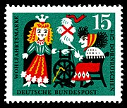 German stamp: The princess meets the old woman, spinning