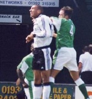 Stan Collymore - Collymore (centre, white shirt) playing for Fulham  against Yeovil Town in 1999