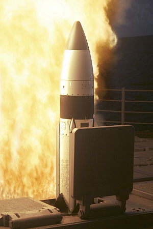 Anti-satellite weapon - RIM-161 Standard Missile 3 launched from USS ''Lake Erie'', a US Navy ''Ticonderoga'' class cruiser, 2005.