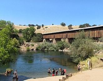 Stanislaus River - Stanislaus River at the historic covered bridge in Knights Ferry