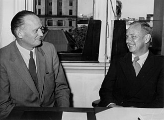 T. R. Schellenberg - T. R. Schellenberg (left) with James L. Stapleton, State Librarian of Queensland, 1954