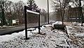 Station sign at Belmont Center station, January 2015.jpg