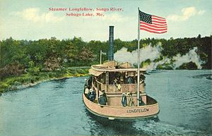 Casco, Maine - Steamer Longfellow on the Songo River in 1912