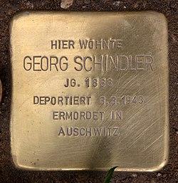 Photo of Georg Schindler brass plaque
