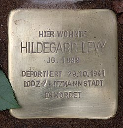 Photo of Hildegard Levy brass plaque