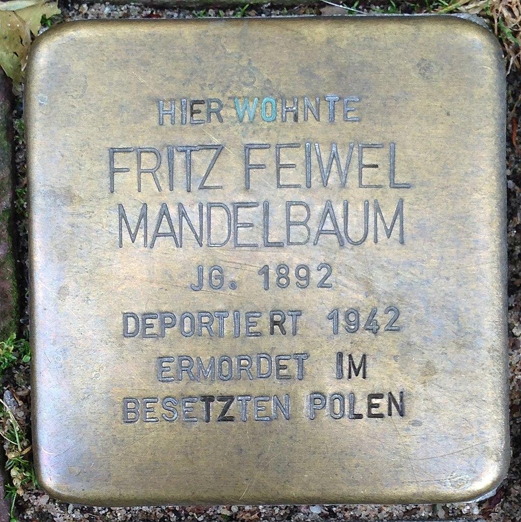 Stolperstein Kleve An der Münze 7–9 Fritz Feiwel Mandelbaum